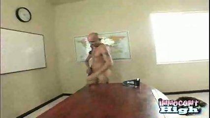 Schoolgirl fucks Baldy Man - scene 3