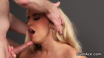 Flirty model gets sperm shot on her face swallowing all the spunk