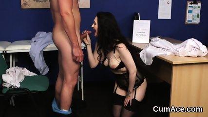 Flirty hottie gets cum shot on her face gulping all the semen