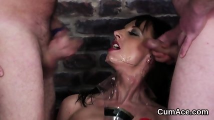 Frisky peach gets jizz load on her face gulping all the sperm