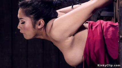 Asian hottie gets spur torment bondage