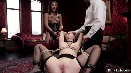 Butler anal fucks slave and maid