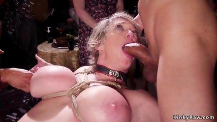 Ebony and Milf serving bdsm orgy ball