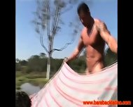 Muscular Latino Has Sexy Picnic Outdoors