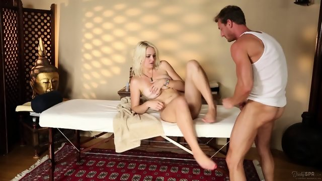 Shy Blonde Fucked By Masseur