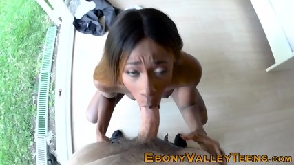 Ebony babe sucking and riding dick