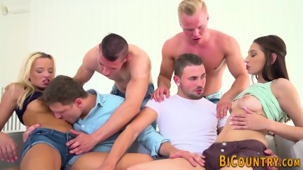 Bisexual orgy fuck and cum spray