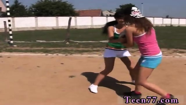 Teen surprise facial Sporty teenagers eating each other