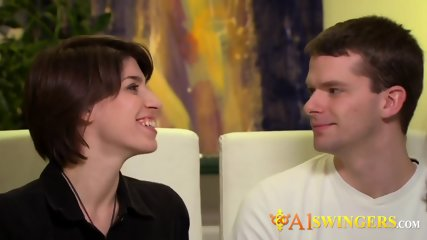 Freshly married young couples exchange partners. Amateur reality television swing show.