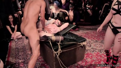 Hot slaves made lick and fuck in orgy