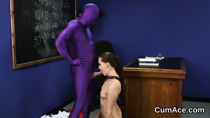 Hot bombshell gets cum load on her face swallowing all the love juice