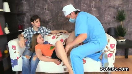 Medic watches hymen checkup and virgin teenie screwing