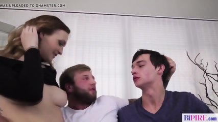 Bisexual action father fucks younger couple of