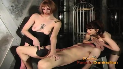 Kinky group of 3 treatment in the dungeon with two warm women