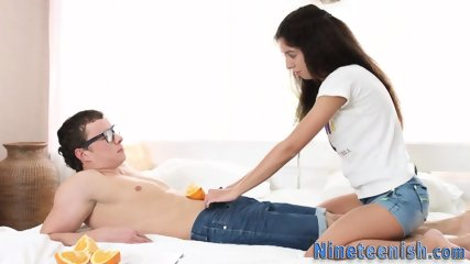 Teen gets creampied and after oral