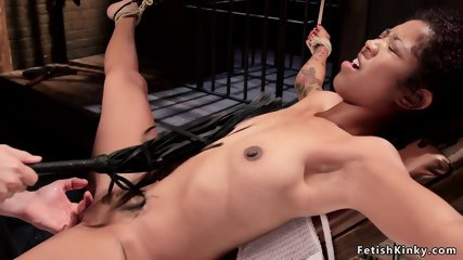 Exposed ass ebony made squirting in bondage