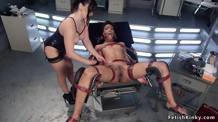Ebony lesbian doctor spanked and anal fucked