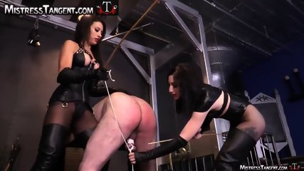 Two Femdom Mistresses stick certain masculine to his knees