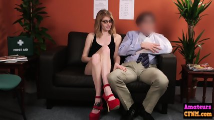 Horny glasses babe sucks on office cock