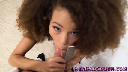 Ebony stepteen getting jizzed on