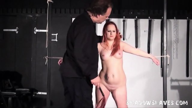 Redhead inexperienced slaves whipping and attached dungeon bust bdsm