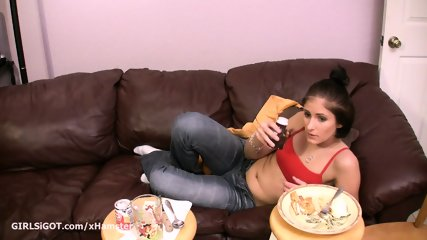 Newbie adult porn woman eating prior to screwing companion doggy