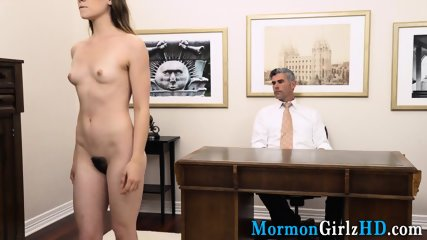 Teen missionary rubs her hairy pussy