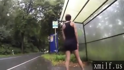 sexy girl power pissing public flashing at bus stop by XMILF.US