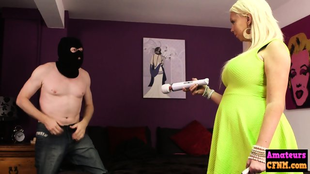 Burglar gets his cock eaten by mature cfnm