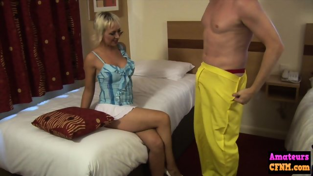 Mature cfnm chick gobbles down dick