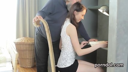 Ideal college girl was tempted and fucked by elder tutor