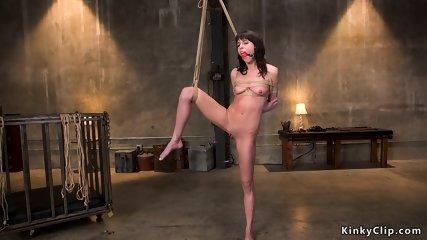 Skinny slave rough banged in bondage