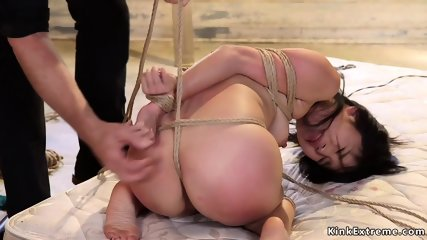Petite Japanese sub fucked in threesome