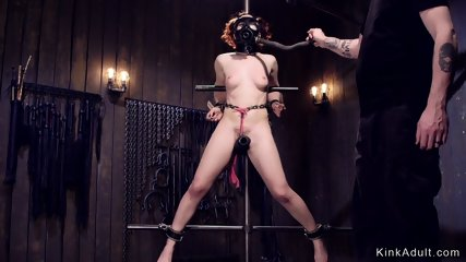 Redhead sub tormented with gas mask