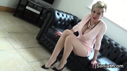 Unfaithful english mature lady sonia showcases her huge tits