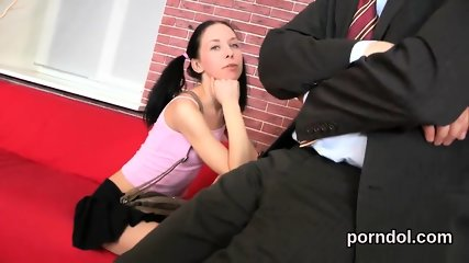 Lovable college girl is seduced and fucked by elder mentor