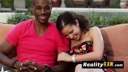 Interracial couple gets into their first swinger experience after signing contract with a TV show