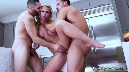 Huge tit milf masturbates kitchen Army Boy Meets Busty Stepmom