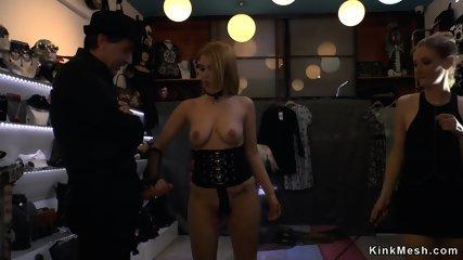 Busty blonde anal gangbang public