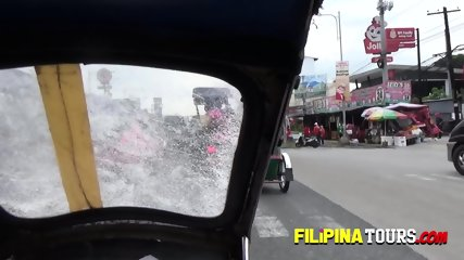 Shorty beautiful Asian girl is picked up in a tuk-tuk to have some naughty fun with white tourists.