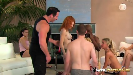 Big orgy with redheads and blondes with big tits fucking each other in front of their couples