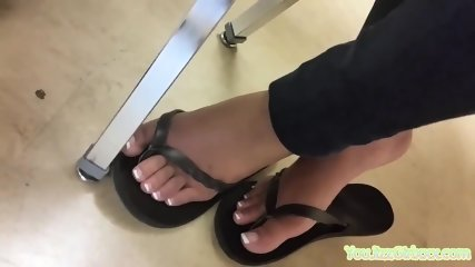 Sexy Teen Feet with French Pedicure