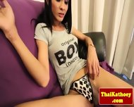 Busty Thai Tranny Rubs Her Thick Cock