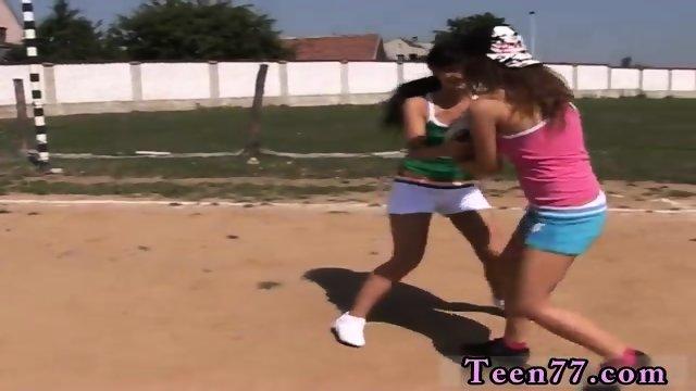 Lesbian aunt Sporty teens slurping each other