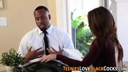 Teen sucks and tugs massive black cock
