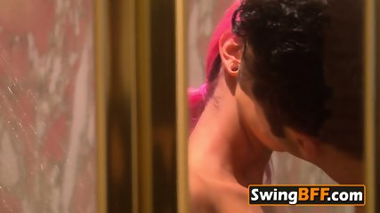 Hot amateur couple gets excited by entering the swing house, they start with exciting foreplay.