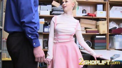 Pretty hot shoplifter teen gets her pussy slammed so wet, she is not so innocent as she sucks dick.