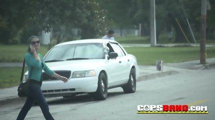 Slutty Milfs in cop uniforms seduce and bang a black guy. His massive dick slides deep inside.