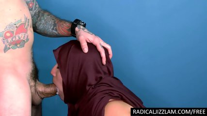Arab girl mouth fucked by huge cock