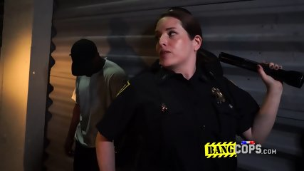 .Horny fatty milf in uniform gets her pussy smelled, licked and slammed by a young black dude.